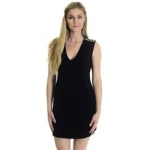 Juicy Couture Ponte Knit Zip Stud Shoulder Dress.